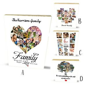 Personalised Wooden Block Family Best Friends Memorial Photo Plaque Gifts