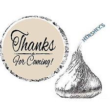 216ct Light Tan Thanks for Coming Party Favor Hersheys Kisses Candy Stickers New