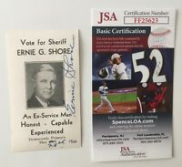 Ernie Shore Signed Autographed 2.25 x 4 Business Card JSA Certified Red Sox