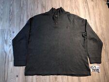 Vintage Gray Polo Ralph Lauren 1/4 Zip Pullover Sweatshirt 2XL XXL Men Pony☕G1