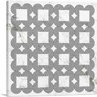 ARTCANVAS Art Deco Circles Squares on White Canvas Art Print