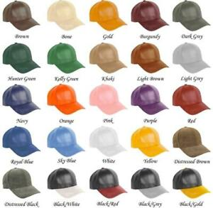 Authentic Leather Baseball hat cap hats caps Made in USA , One Size Fit All