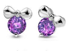 925 Sterling Silver Amethyst Purple Birthstone Mickey Weding Bridal Earring XE79