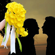 Artificial Wedding Flowers Real Touch Yellow Calla Lily Cascading Bridal Bouquet