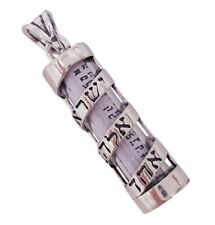 Shema Israel Blessing Jewish Mezuzah Pendant 925 Sterling Silver Judaica Jewelry