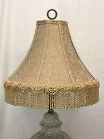 "1 Victorian Style Bell Lamp Shade Gold Beige Fringe Damask Fabric 15""x11x5 HAVE2"