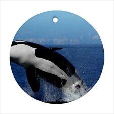 Killer Whale Orca Black Fish Round Porcelain Ornament - Holiday Seasons