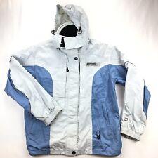 Spyder Womens 14 White Blue Hooded Full Zip Ski Snowboard Jacket