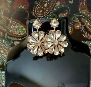 VINTAGE EARRINGS Pierced 1970/80s Rose Gold Tone Dangle/Drop DIAMANTE Flower.