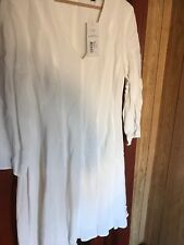 French Connection Summer White Long Sleeve Lined Dress Size 14 Brand New