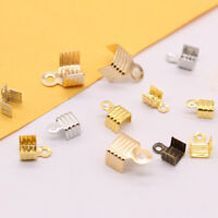 Gold silver plated Fold over crimp beads Connector Cord end Tip jewelry findings