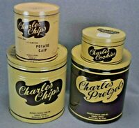 Charles Pretzels Cookies Chips BBQ Tins Mountville PA Lot Of 4