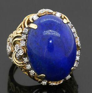 Vintage heavy 14K gold .50CTW VS diamond/22 X 16mm lapis lazuli cocktail ring