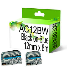 5 x Compatible AC12BW Black on Blue NON-OEM For Epson Label Tapes 12mm x 8m