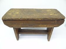 Antique Old Wood Wooden Primitive Stained Brown Footstool Stool Stand Furniture