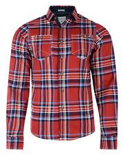 Lee Cooper New Men's Long Sleeve Cotton Check Shirt Red Green Blue Beige