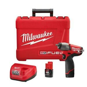 "NEW Milwaukee 2454-22 M12 FUEL 3/8"" Impact Wrench Kit 2 Battery & Charger NIB"