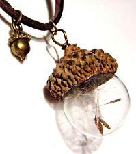 ACORN TOP GLASS ORB WISHING JAR Dandelion Seed wish bottle charm necklace 6Z