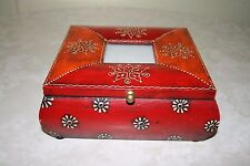 DECORATIVE INDIAN HAND CRAFTED WOODEN STORAGE BOX WITH PHOTO FRAME RED/MAROON