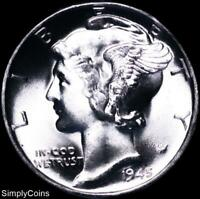 1945 Mercury Silver Dime ~ GEM BU Uncirculated ~ US Coin MQ