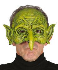 Verde Goblin Máscara Disfraz masque Halloween Sprite Orco media cara NUEVO
