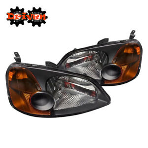 For 01-03 Honda Civic EM Black Headlights w/Amber Reflector 2/4 dr Coupe Sedan