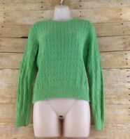 Brooks Brothers 346 Sweater Womens Medium Green Cable Knit Cotton Preppy Work