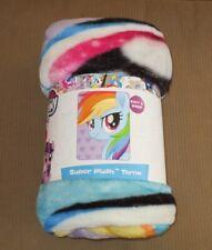 New Rainbow Dash Face My Little Pony Plush Fleece Throw Gift Blanket Hearts SOFT