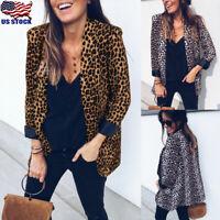 Women's Long Sleeve Lapel Leopard Print Cardigan Blazer Suit Jacket Coat Outwear