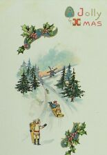C.1900-10 Embossed Sled Holly Xmas Christmas Winter Scene Vintage Postcard F56