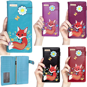 KukuBird Fox Design With Flower Buckle Large Ladies Purse Clutch Wallet Free P&P