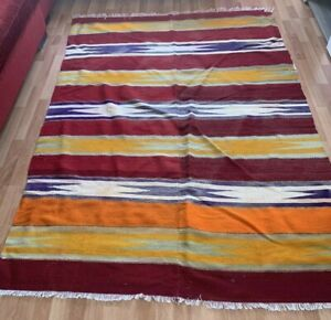Anatolian Colorful Large Kilim Rug 5x7ft Vintage Handwoven Wool Reversible Kilim