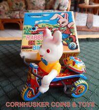 Vintage Bunny Rabbit on Bike wind up Tin Mechanical toy w/Box Japan  🐇
