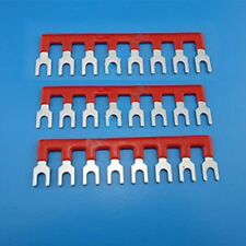 3Pcs TB2508 Red 600V 25A Fork Type 8 Position Terminal Strip Jumper Connector