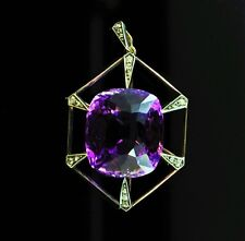 Antique Russian 45 ct. Amethyst Diamond Gold Pendant, St. Petersburg, 1908