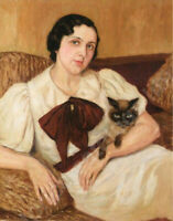 """perfect 24x36 oil painting handpainted on canvas """"woman with cat """"N15206"""