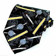 Drafting Tools Mens Necktie Drawing Black Neck Tie Architect T Square Plan New