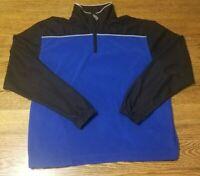 Callaway Golf Sport Pullover Fleece Blue/Black 1/4 Zip Mens MEDIUM