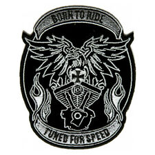 Embroidered Born to Ride Tuned for Speed Biker Eagle Iron on Patch Biker Patch