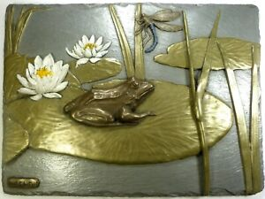 Cold Cast Bronze & Metal Frog Lily Pad Signed Wall Art Sculpture Relief HANDMADE