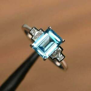2Ct Emerald Cut Blue Topaz Diamond Solitaire Engagement Ring 14K White Gold Over