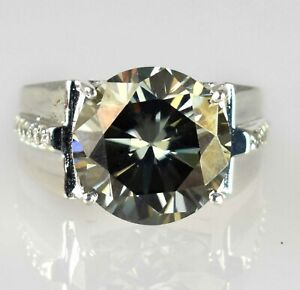 11.69 Ct Chocolate Brown Diamond Solitaire Men's Heavy Setting Ring With Accents
