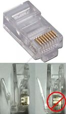 Lot10 STRANDED wire RJ45 Crimp-On cable End8P8C modular connector Cat5e Ethernet