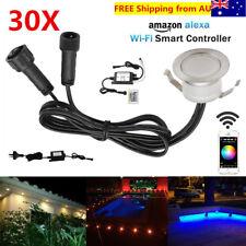 30X Smart WIFI Controller 12V 31mm Outdoor Landscape LED Deck Step Lights Timer