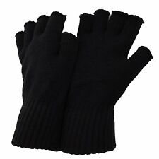 £2.49  ADULTS MENS HALF FINGER GLOVES KNITTED WINTER WARM WORK COLD LADY £2.49