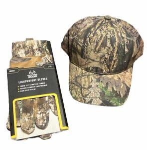 Lot of 2! NEW Hunting Mossy Oak camo L/XL Gloves, Camo Ball Cap
