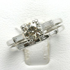 Vintage Diamond Engagement Ring Wedding Set 1.25 carat round baguette Platinum