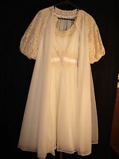 Vintage Vanity Fair Yellow Night gown and Robe Peignoir Set ~ Size Small