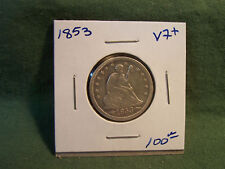 1853 VF+ silver Seated Liberty Quarter, see our store