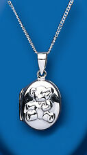 "Unique Wishlist Sterling Silver Oval Teddy Bear Locket & 16-18"" Chain BT4058"